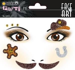 Bilde av FACE ART Sticker Cowboys til ansiktet, 1 ark (5