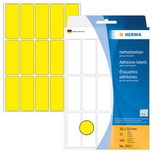 Bilde av HERMA fargede etiketter, gul 20x50 mm (480 stk)