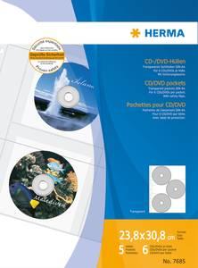 Bilde av CD/DVD plastlommer, 6 stk per lomme, 233x306,5