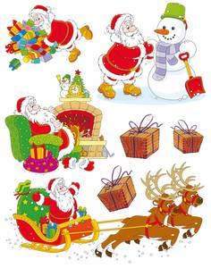 Bilde av Vindusdekor Julenissen, selvklebende folie, 7 stk